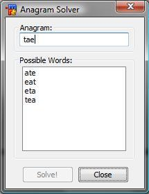 Anagram solver unscrambler mirc for Window unscramble